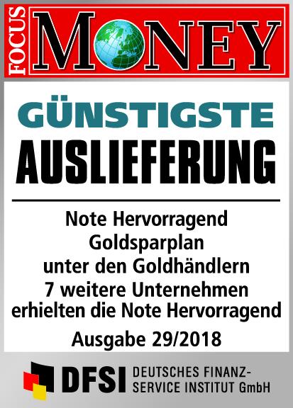 Auvesta - GÜNSTIGSTE Auslieferung Note Hervorragend Goldsparplan unter den Goldhändlern Ausgabe 29/2018