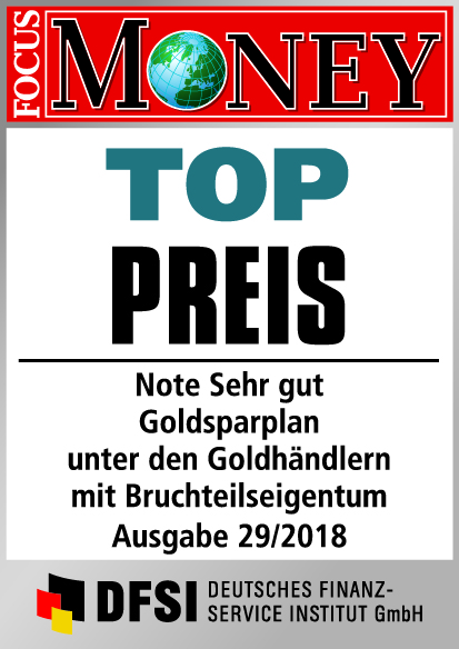 Auvesta - TOP Preis - Note Sehr gut - Goldsparplan unter den Goldhändlern mit Bruchteilseigentum Ausgabe 29/2018