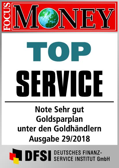Auvesta - TOP Service - Note Sehr gut - Goldsparplan unter den Goldhändlern Ausgabe 29/2018
