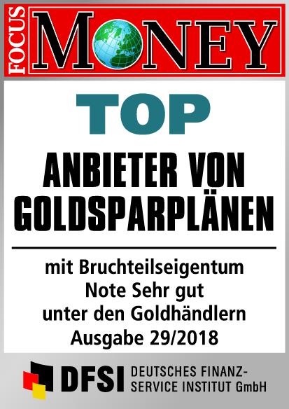 Auvesta - TOP Anbieter von Goldsparplänen mit Bruchteilseigentum - Note Sehr gut unter den Goldhändlern Ausgabe 29/2018