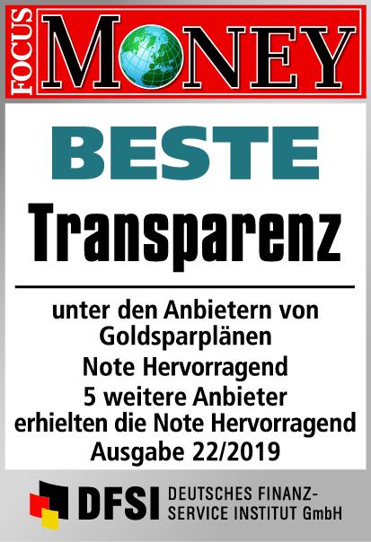 Auvesta - BESTE Transparenz unter den Anbietern von Goldsparplänen Ausgabe 22/2019