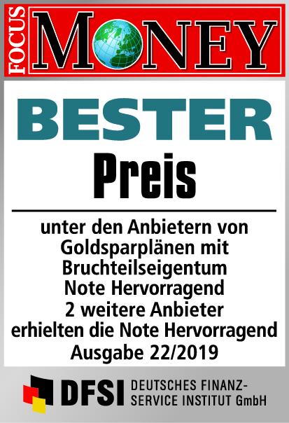 Auvesta - BESTER Preis unter den Anbietern von Goldsparplänen mit Bruchteilseigentum Ausgabe 22/2019