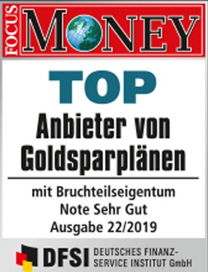 Auvesta - TOP Anbieter von Goldsparplänen mit Bruchteilseigentum - Note Sehr gut unter den Goldhändlern Ausgabe 22/2019
