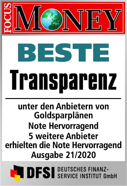 Auvesta - BESTE Transparenz unter den Anbietern von Goldsparplänen - Ausgabe 21/2020