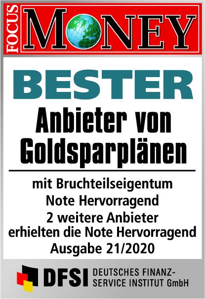 Auvesta - Bester Anbieter von Goldsparplänen mit Bruchteilseigentum - Note Hervorragend - Ausgabe 21/2020