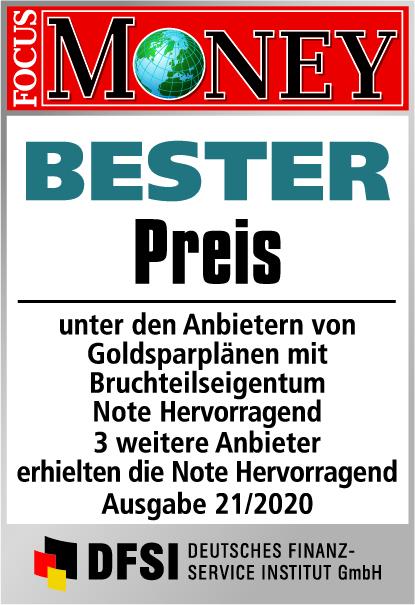 Auvesta - BESTER Preis unter den Anbietern von Goldsparplänen mit Bruchteilseigentum - Ausgabe 21/2020