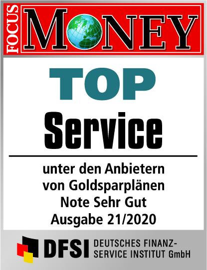 Auvesta - TOP Service unter den Anbietern von Goldsparplänen - Note Sehr gut - Ausgabe 21/2020
