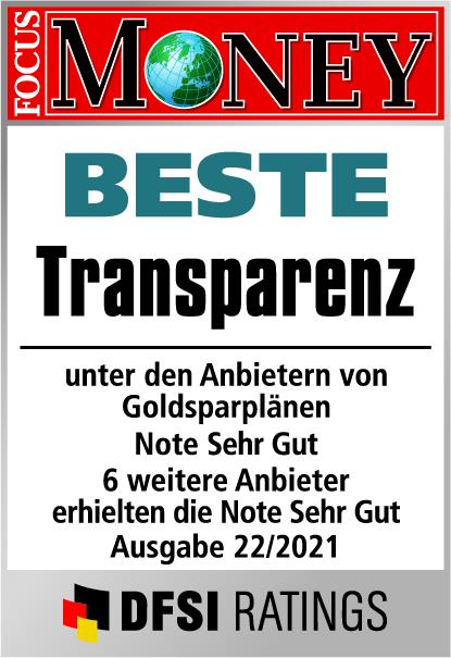 Auvesta - Beste Transparenz von Goldsparplänen mit Bruchteilseigentum - Note Hervorragend - Ausgabe 22/2021