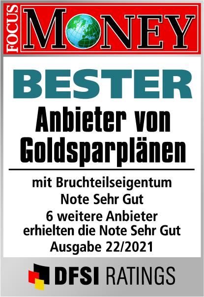 Auvesta - Bester Anbieter von Goldsparplänen mit Bruchteilseigentum - Note Hervorragend - Ausgabe 22/2021