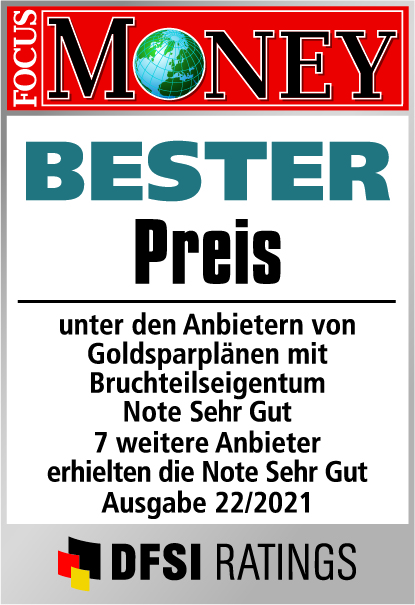 Auvesta - Bester Preis von Goldsparplänen mit Bruchteilseigentum - Note Hervorragend - Ausgabe 22/2021