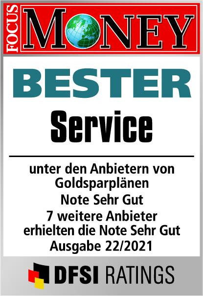 Auvesta - Bester Service von Goldsparplänen mit Bruchteilseigentum - Note Hervorragend - Ausgabe 22/2021