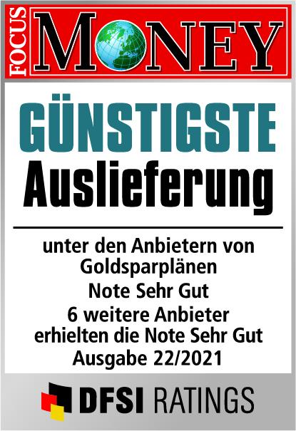 Auvesta - Günstigste Auslieferung von Goldsparplänen mit Bruchteilseigentum - Note Hervorragend - Ausgabe 22/2021