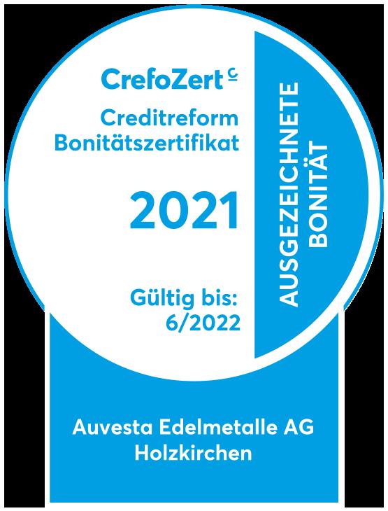Seit 2013 wird die Bonität von Auvesta Edelmetalle AG jährlich von der Creditreform überprüft und bestätigt.
