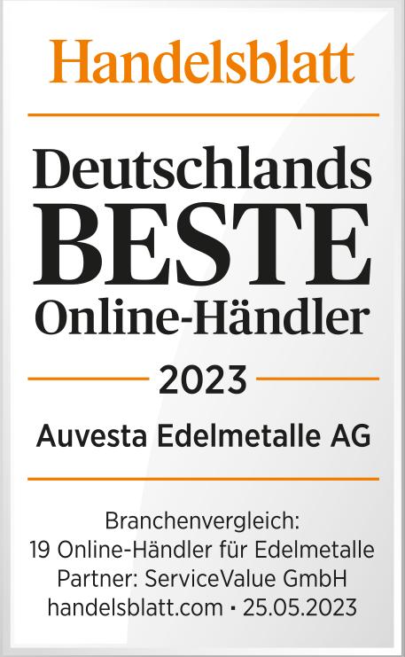 Handelsblatt - Deutschlands beste Anbieter von Goldsparplänen 1. Platz Auvesta Edelmetalle AG